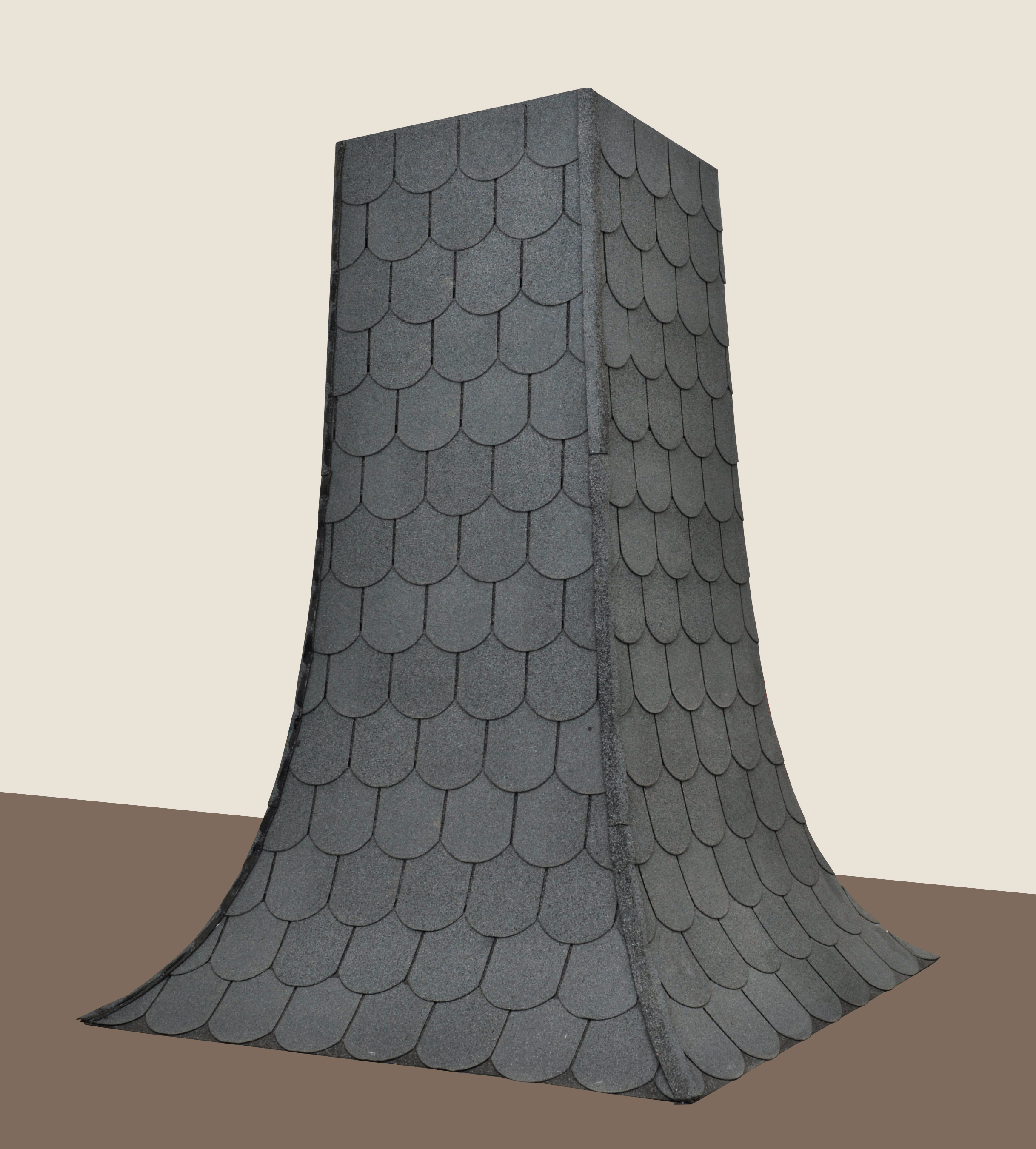 Suit of armour was created as a box, which is closed at three edges and completely covered with shingles of bitumen. On her fourth edge the recipient can access the artworkSuit of armour was created as a box, which is closed at three edges and completely covered with shingles of bitumen. On her fourth edge the recipient can access the artwork